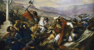 Battle: Charles Martel, on the white horse, stops the Islamic advance in an 1837 painting by Charles de Steuben. Photograph: Print Collector/Getty