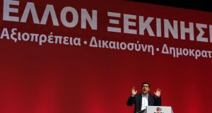 'A spectre is haunting Europe – the spectre of Syriza'. Above, Alexis Tsipras, leader of the Syriza party, speaking to his supporters at a pre-election party congress in Athens, last week.  Photographer: Kostas Tsironis/Bloomberg