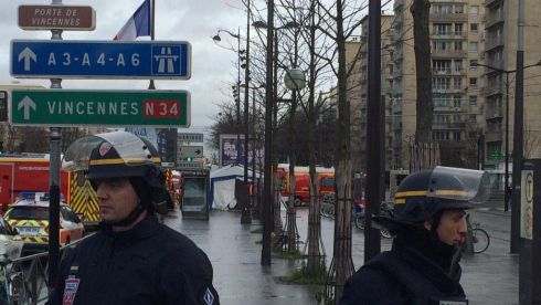 The scene at Porte de Vincennes in eastern Paris on January 9th, 2015 as a hostage-taking incident unfolded in a kosher market located behind the medical tent in the background of this image. Suspects in the killing of Charlie Hebdo killings earlier in the week were meanwhile surrounded at a separate location near the French capital. Photograph: Ruadhan Mac Cormaic