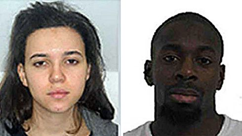 Undated handout photos issued by the Judicial Police of Paris of Hayat Boumeddienne (left) and Amedy Coulibaly, wanted in connection with reports of a shoot-out in Porte de Vincennes in eastern Paris. Photograph: Judicial Police of Paris/PA Wire