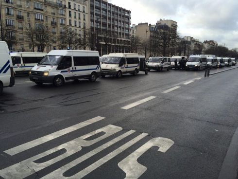 Busloads of police were transported to Porte de Vincennes as the hostage-taking incident unfolded there. Photograph: Ruadhan Mac Cormaic