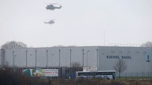 Helicopters with French intervention forces hover above the scene of a hostage-taking at an industrial zone in Dammartin-en-Goele, northeast of Paris, January 9th, 2015. Photograph: Pascal Rossignol/Reuters