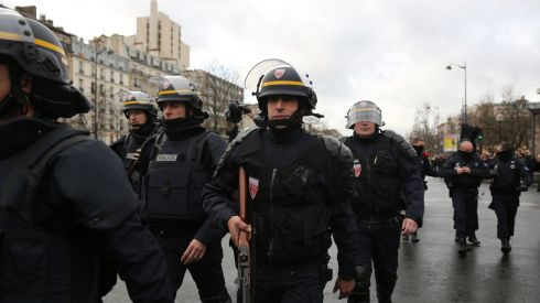 Police mobilising in Porte de Vincennes.  Photograph: Dan Kitwood/Getty Images