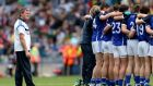 Terry Hyland stands behind his Cavan team before their All-Ireland quarter-final match against Kerry in 2013. Photograph: James Crombie/Inpho