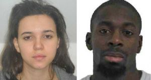 French police are hunting Hayat Boumeddiene (L), the girlfriend of  Amedy Coulibaly (R) who was killed yesterday. Photograph: Reuters/Paris Prefecture de Police
