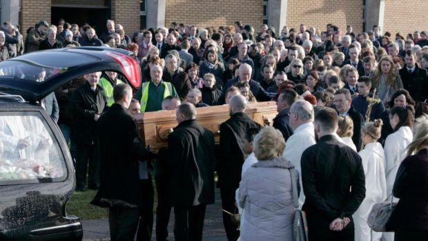The funeral of Niamh Doyle, who passed away on January 6th 2015 following a road collision, took place today at the Holy Family Church, Askea, Carlow. Photograph: Mark Stedman/Photocall Ireland