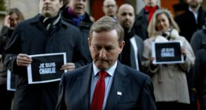 The Taoiseach after signing the book of condolence, at the French embassy in Dublin, for the victims of the shootings at the French satirical magazine Charlie Hebdo in Paris. Photograph: Brian Lawless/PA Wire