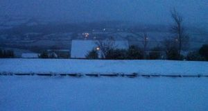 Snow covered in rooftops in Letterkenny, Co Donegal on Tuesday morning, January 13th. Photograph: Stephen Maguire.