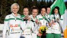 Ann Marie McGlynn (left) with the bronze medal-winning Ireland team at the European Cross Country Championships. Photograph: Inpho.