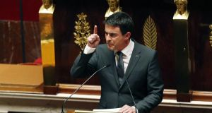 French prime minister Manuel Valls delivers a speech during a special session of the national assembly to pay tribute to the 17 victims killed in Islamist attacks. Photograph:  Francois Guillot/AFP/Getty Images
