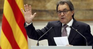Catalonian regional government president, Artur Mas, addresses the media during a press conference held in Barcelona,  where he announce that elections in Catalonia. Photograph: Alejandro Garcia/EPA