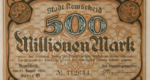 A 500 Mark note printed during the Weimar Republic.