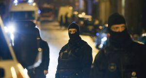 Rio police block the street of Colline in Vervier Eastern Belgium, 15 January 2014, after an anti terrorist operation in which two people died and one was injured. Photograph: EPA/Oliver Hoslet