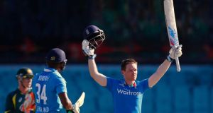 England captain Eoin Morgan rescued his side's innings with a century but Australia still cruised to a three wicket victory at the SCG. (Photograph: REUTERS/Steve Christo)