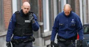 Belgian police  patrol  in Verviers Eastern Belgium on Friday, the day after an anti-terrorist operation. Two people died and one was injured in a police anti-terrorism operation in the city against a suspected jihadist cell. Photograph: EPA