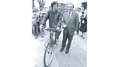 Tony Gregory TD with Mr Haughey before he started a sponsored cycle from Dublin to Kilnacrott, Co Cavan, to raise money for a holiday home for inner city children, April 5th, 1982. Photograph: Peter Thursfield/The Irish Times
