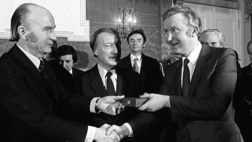 Sean Doherty (right) pictured with Mr Haughey in 1982. Photograph: The Irish Times