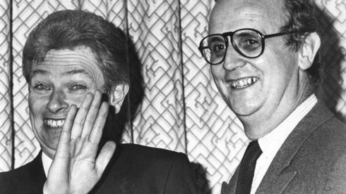 November 1st, 1985: Peter Prendergast (left) and  then Fianna Fail press officer, PJ Mara, at a Marketing Institute of Ireland meeting. Photograph: Tom Lawlor/The Irish Times