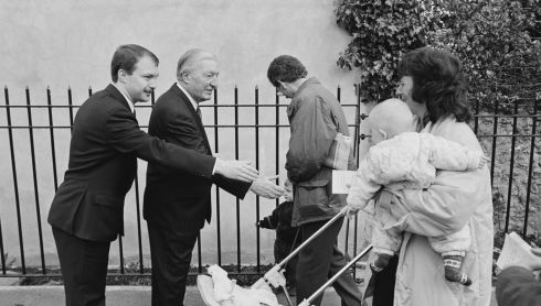 Mr Haughey and his son Sean canvass for votes in Dublin North Central ahead of the November 1992 General Election. Photograph: Paddy Whelan/The Irish Times