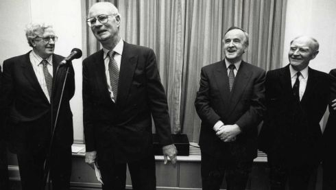 January 21st, 1993: Dermot Nally, former secretary to the government, speaking at a reception in Government Buildings to mark his retirement. Then taoiseach Albert Reynolds (right) watches on, along with former taoisigh Dr Garret FitzGerald (left) and Liam Cosgrave (far right). Photograph: Frank Miller/The Irish Times