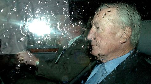 September 21st, 2000: Charles Haughey leaving after the first sitting of the Moriarty Tribunal after the summer break in Dublin Castle. Photograph: David Sleator/The Irish Times