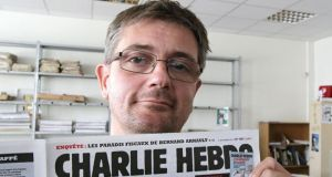 "Charlie Hebdo editor Stéphan Charbonnier. ""Charb had nothing against Muslims – every religion got it from Charlie,"" said Irish musician Paddy Sherlock. Photograph: AP Photo/Michel Euler"