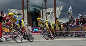 Surveillance drones were used during Giro d'Italia which started in Belfast last year. Photograph: INPHO/Presseye/William Cherry