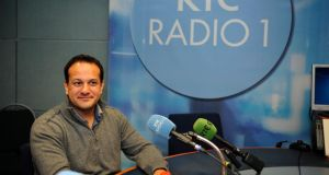 Minister for Health Leo Varadkar pictured in RTE Radio 1 studios today where he came out publicly on the Miriam O' Callaghan show. Photograph: Aidan Crawley
