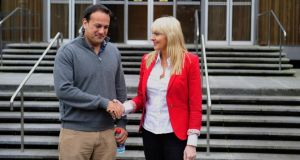 Minister for Health Leo Varadkar with  with Miriam O'Callaghan in RTÉ Radio studios on Sunday. Photograph: Aidan Crawley
