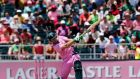 South Africa captain AB de Villiers launches one of his 16 sixes on his way to the fastest ODI century in history during the second ODI against the West Indies  at the Wanderers Stadium in Johannesburg.  Photograph: Siphiwe Sibeko/Reuters