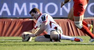 Paddy Jackson scores a try for Ulster against Toulon but was later forced off with an elbow injury. Photograph: Franck Pennant/Presseye/Inpho