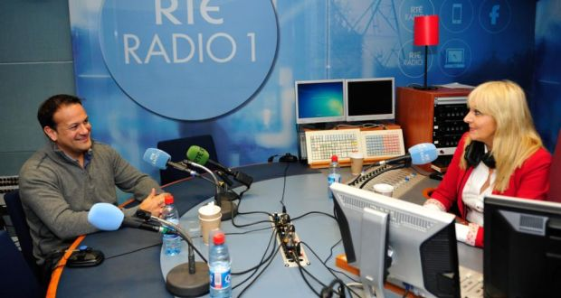 Minister for Health Leo Varadkar with Miriam O'Callaghan in the RTÉ Radio Centre. Photograph: Aidan Crawley
