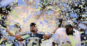 Seattle Seahawks wide receiver Doug Baldwin (L) celebrates as confetti falls after the Seahawks defeated the Packers to win the NFC Championship Playoffs game at CenturyLink Field in Seattle. (Photograph: EPA/JOHN G. MABANGLO)
