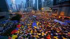 Pro-democracy protesters in Hong Kong's financial central district last October. Photograph: Damir Sagolj/Reuters