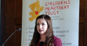 Lucy Allen (16), who has hypoplastic left heart syndrome, addressing the Assembly's All-Party Group on Congenital Heart Disease hosted by the Children's Heartbeat Trust at Stormont last November, following the launch of the consultation process on the future of paediatric cardiac services in Northern Ireland. Photograph: Press Eye