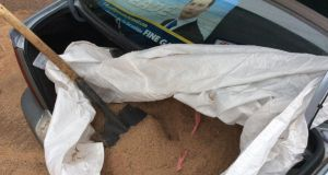 Cllr Paddy Meade's car loaded with gritting salt which he has given to constituents