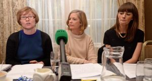From left are  Orla O'Connor, director of the National Women's Council, and Katherine O'Donnell and Maeve O'Rourke of Justice for Magdelenes Research at  a  Justice for Magdalenes press conference in Dublin on January 19th, 2015. Photograph: Eric Luke/The Irish Times