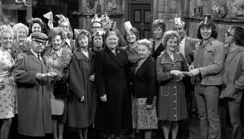 File photo dated 18/12/74 of Coronation Street stars during a Christmas Party sequence at the Rovers Return. Actress Anne Kirkbride is sixth from left with glasses. Photograph: PA/PA Wire