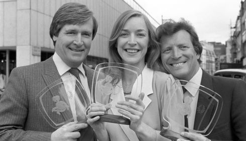 File photo dated 23/05/83 of Coronation Street actors William Roache (left), who played Ken Barlow and Johnny Briggs who played Mike Baldwin with Anne Kirkbride. Photograph: PA/PA Wire