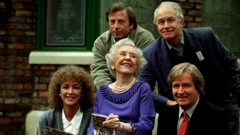 File photo of (left right front) Anne kirkbride, Doris Speed and Bill Roache, (left - right back) Ken Farrington and Alan Rothwell on the set of Coronation Street.  Photograph: Malcolm Croft/PA Wire