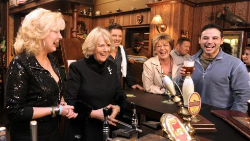 File photo dated 04/02/10 of the Duchess of Cornwall meeting actors  Beverley Callard (left), Anne Kirkbride (second right) and Ryan Thomas, at the Rovers Return during her visit to the set of Coronation Street in Manchester. Photograph: Andrew Yates/PA Wire