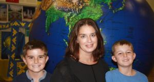 Global perspective: Deirdre Grimshaw with her sons Matthew and Stevie in Vietnam