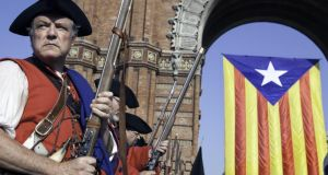 Men dressed as soldiers of the 1714 Catalan army are seen during a pro-independence demonstration as part of the celebrations of the National Day of Catalonia on September 11th, 2014 in Barcelona. Photograph: Joan Alvado/Anadolu Agency/Getty Images