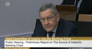 Klaus Regling seen reviewing his findings at the Oireachtas banking enquiry on Wednesday.