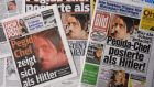 Front pages of German daily newspapers show images of Pegida co-founder Lutz Bachmann posing as Adolf Hitler. Photograph: Marcus Brandt/EPA