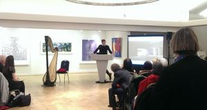 David Blackmore receiving his award for Best UK Artist at the London Irish Art Exhibition.