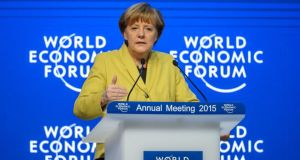 German Chancellor Angela Merkel speaks at  a session of the World Economic Forum  annual meeting on January 22nd, 2015 in Davos, Switzerland. Photograph: Fabrice Coffrini/AFP/Getty Images