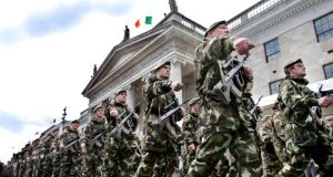A commemorative parade on April 16th, 2006, on O'Connell Street, Dublin, marking the 90th anniversary of the 1916 Easter Rising.   Photograph: Matt Kavanagh/The Irish Times