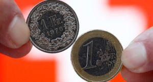 Swiss National Bank's decision to end the Swiss franc's peg with the euro has resulted in the euro falling as much as 41 per cent against the franc.  Photograph: Thomas Hodel/Reuters