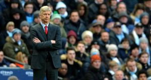 """Arsenal manager Arsene Wenger: """"If you put a young player with top-level players he has more chances of developing into a top-level player."""" Photograph: Peter Powell/Epa."""